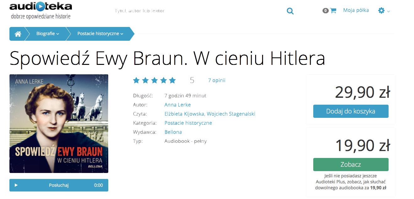"""Audiobook """"Spowiedź Ewy Braun"""". Podsłuchaj, bo warto!"""